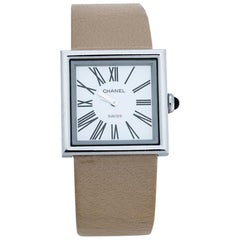 Chanel White Stainless Steel Mademoiselle Women's Wristwatch 22 mm
