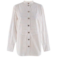Chanel White Striped Collarless Shirt 34