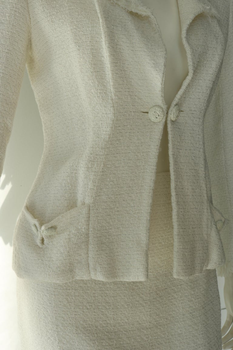 Gray Chanel white suit  For Sale