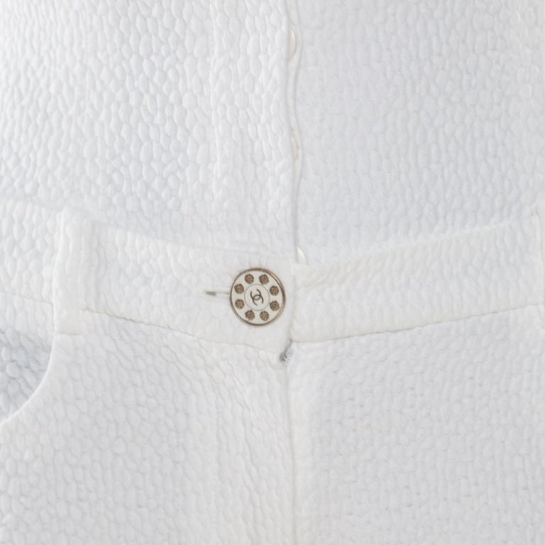 Chanel White Textured Cotton High Waisted Wide Leg Trousers S For Sale 1