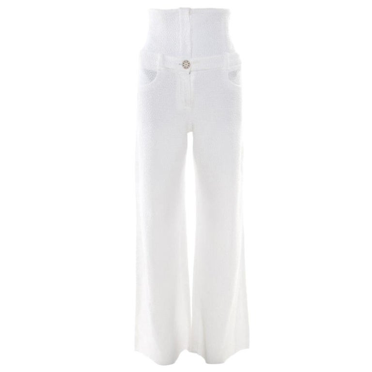 Chanel White Textured Cotton High Waisted Wide Leg Trousers S For Sale