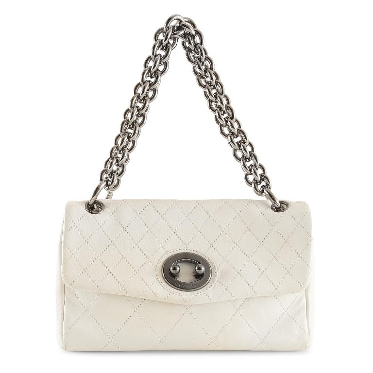Chanel White Topstiched Leather Flap Bag For Sale 7