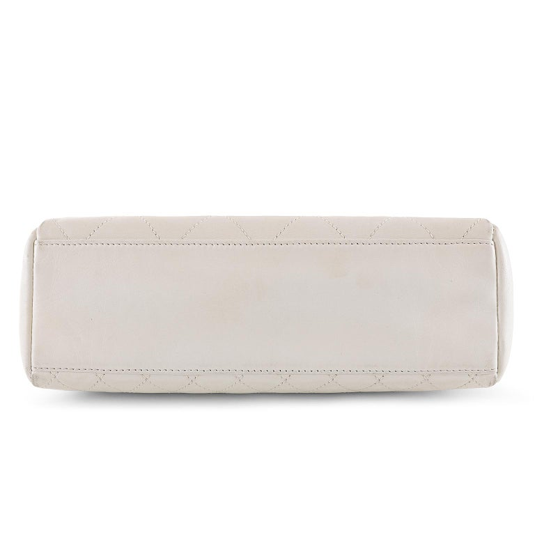 Chanel White Topstiched Leather Flap Bag For Sale 1