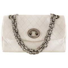 Chanel White Topstiched Leather Flap Bag