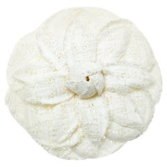 Chanel White Tweed Camellia Brooch