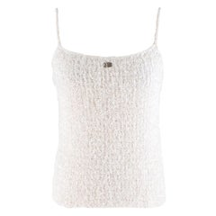 Chanel White Tweed Cami Top SIZE 42