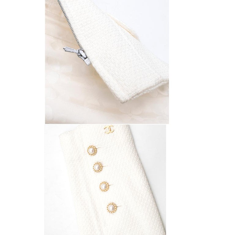 Chanel White Tweed Classic Jacket - Size US 4 4