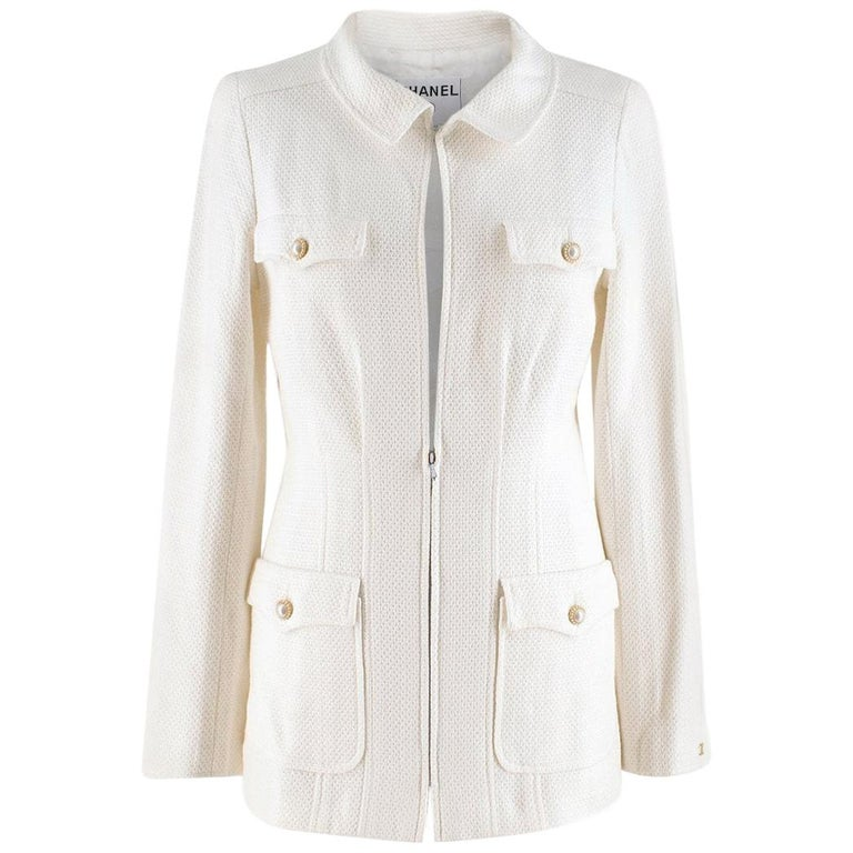 Chanel White Tweed Classic Jacket - Size US 4