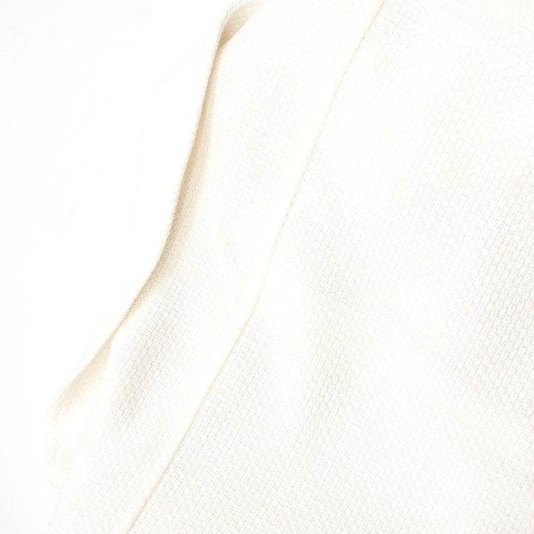 Chanel White Tweed Classic Jacket - Size US 4 5