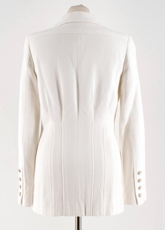 Gray Chanel White Tweed Classic Jacket - Size US 4