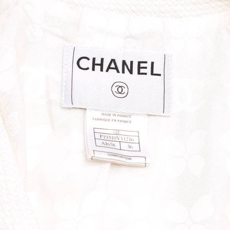 Chanel White Tweed Classic Jacket US 4 1