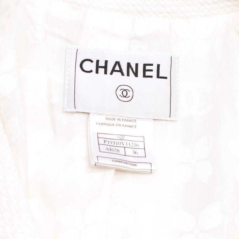 Chanel White Tweed Classic Jacket US 4 2