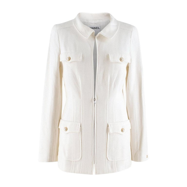 Chanel White Tweed Classic Jacket - Size US 4