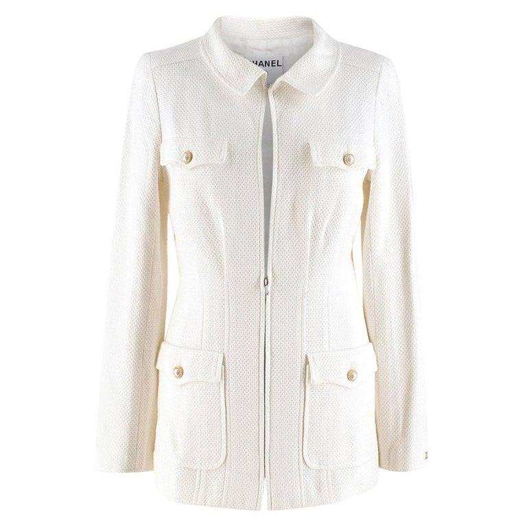 Chanel White Tweed Classic Jacket US 4