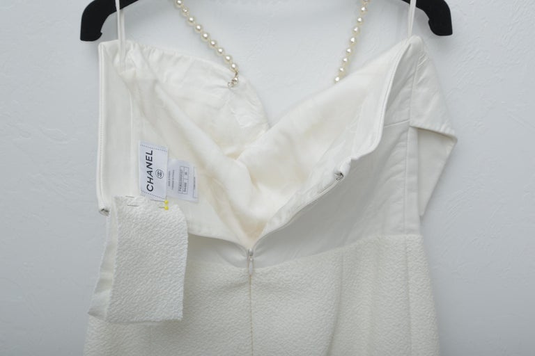Chanel White Tweet Dress with Pearls with Matching Crop Jacket  For Sale 6