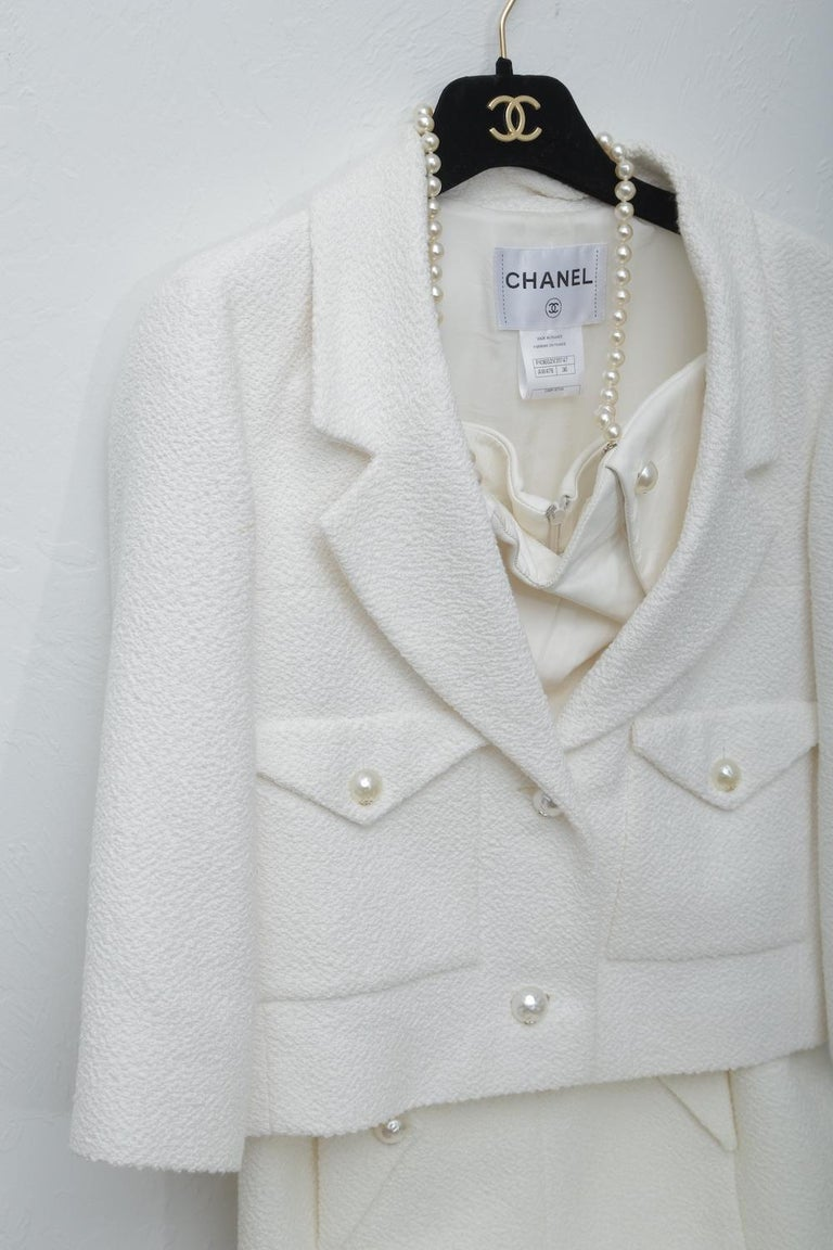 Chanel White Tweet Dress with Pearls with Matching Crop Jacket . Size 2 with original Chanel hanger & garment bag.
