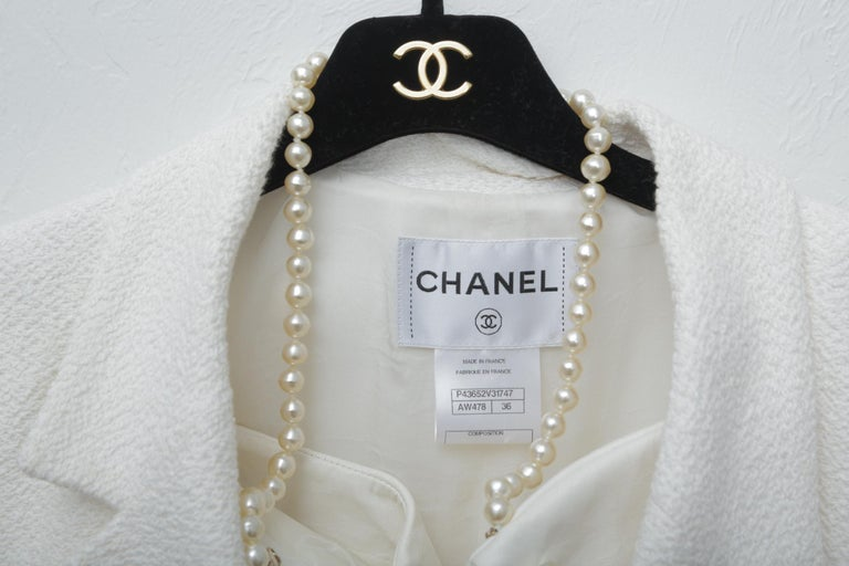 Chanel White Tweet Dress with Pearls with Matching Crop Jacket  In Excellent Condition For Sale In West palm beach, FL