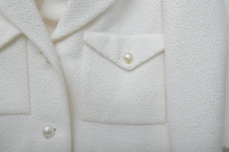 Women's Chanel White Tweet Dress with Pearls with Matching Crop Jacket  For Sale