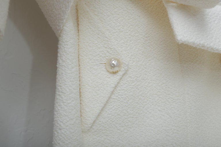 Chanel White Tweet Dress with Pearls with Matching Crop Jacket  For Sale 1