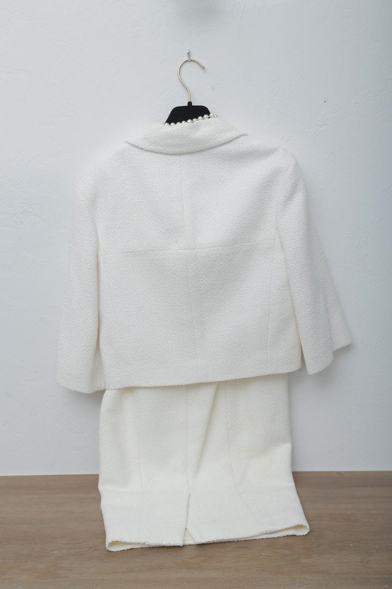 Chanel White Tweet Dress with Pearls with Matching Crop Jacket  For Sale 3