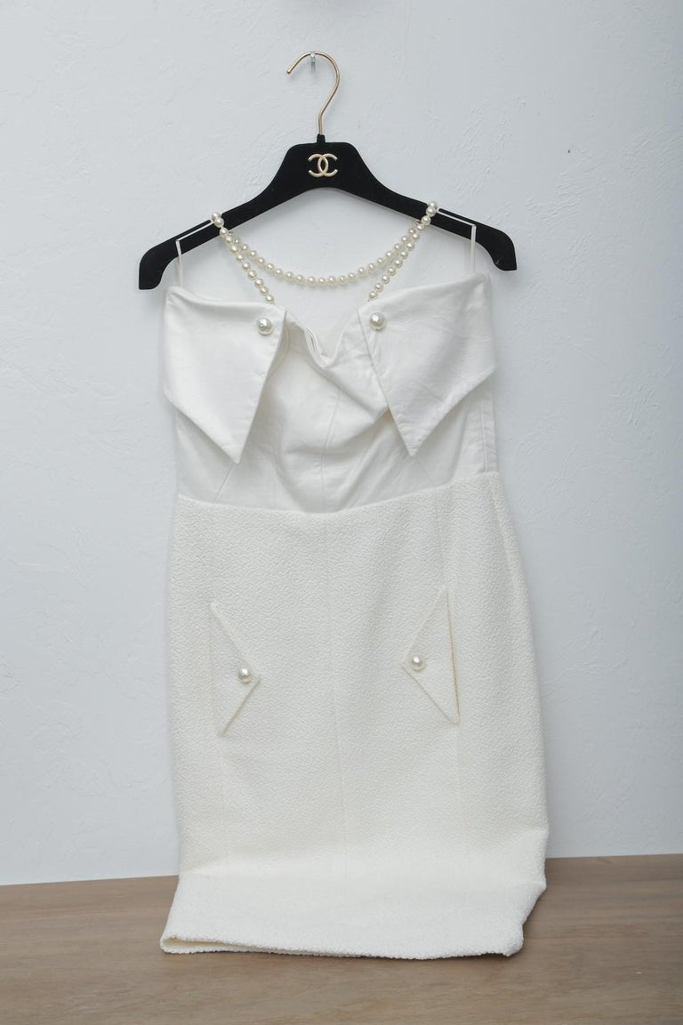 Chanel White Tweet Dress with Pearls with Matching Crop Jacket  For Sale 4