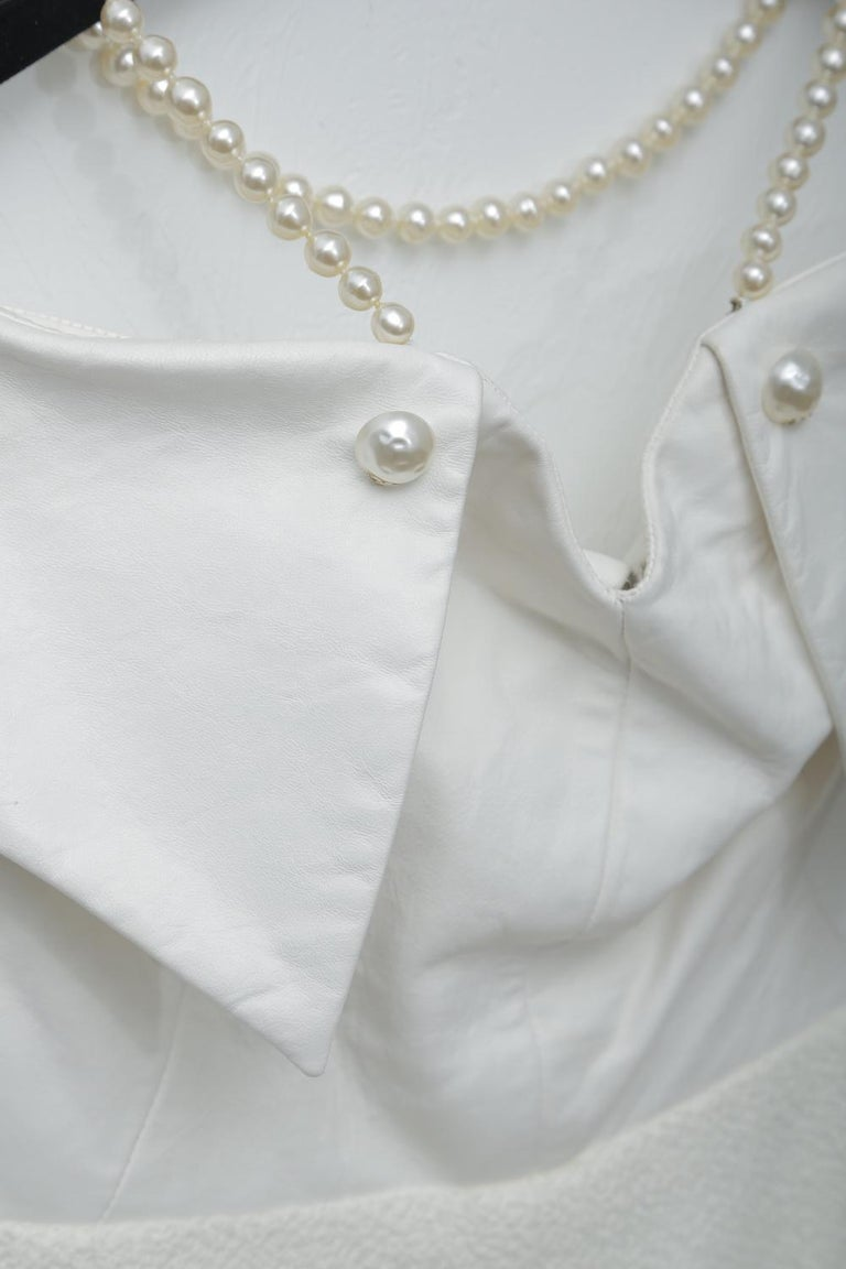 Chanel White Tweet Dress with Pearls with Matching Crop Jacket  For Sale 5