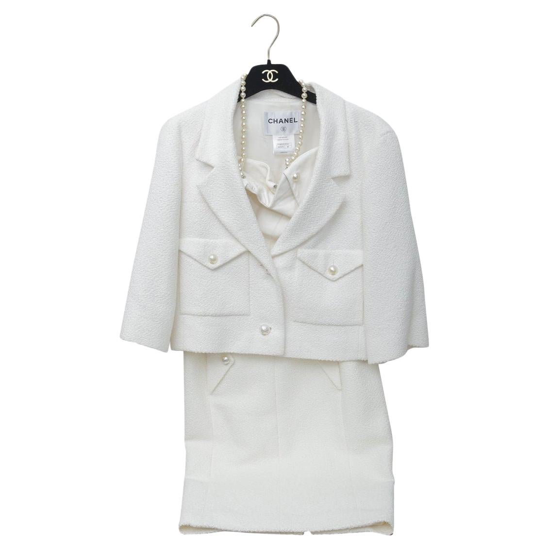 Superb Chanel White Tweet Dress with Pearls with Matching Crop Jacket