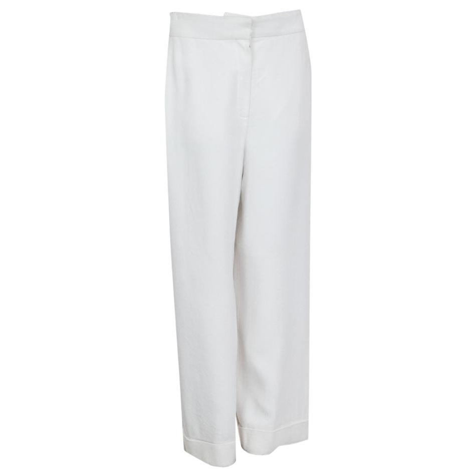 CHANEL white viscose Wide Leg Pants 42 L