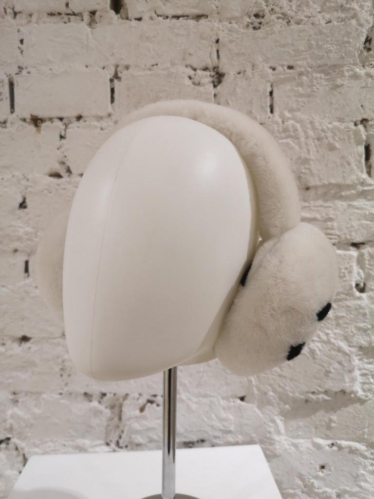 Women's or Men's Chanel White with black CC logo earmuffs  For Sale