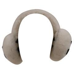 Chanel White with black CC logo earmuffs