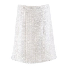 Chanel White Wool-Blend Tweed Skirt SIZE 44