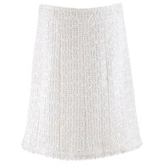 Chanel White Wool-Blend Tweed Skirt	- Size US 8