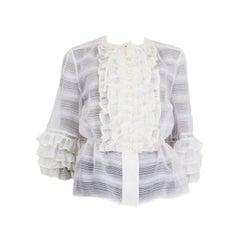 CHANEL white wool & silk 2019 SHEER RUFFLED Blouse Shirt 38 S