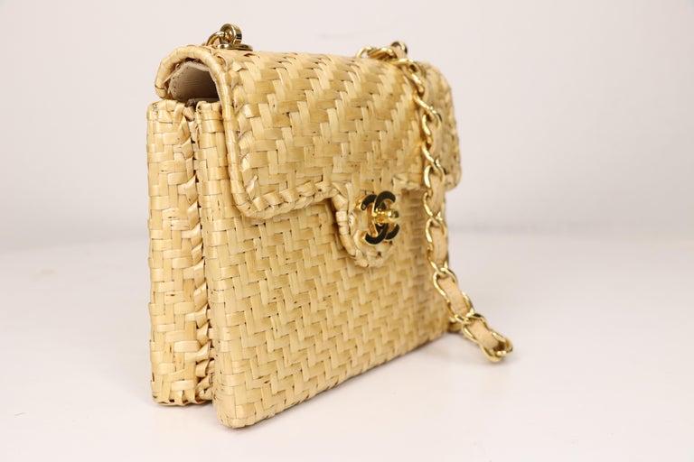 Beige Chanel Wicker Flap Bag 2000-2002  For Sale