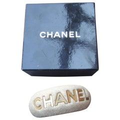 Chanel Wide Molded Bisque Stone Cuff Bracelet in Chanel Presentation Box c 1990s