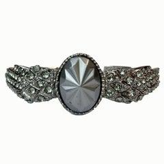 CHANEL Wings Bracelet in Ruthenium set with Blue Rhinestones