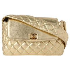 Chanel with Top Handle Rare Limited Edition 1994 Quilted Flap Gold Metallic Bag