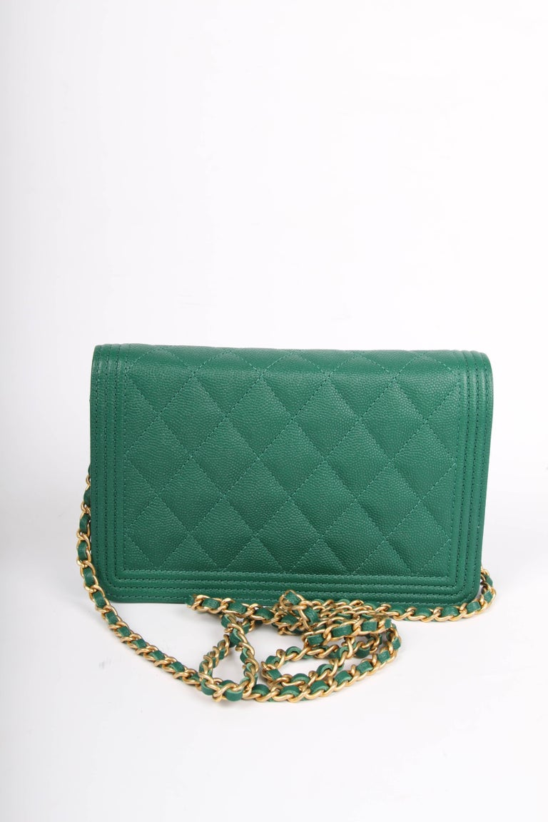e1948e064b0c Green Chanel WOC Wallet on Chain Boy Bag - emerald green For Sale