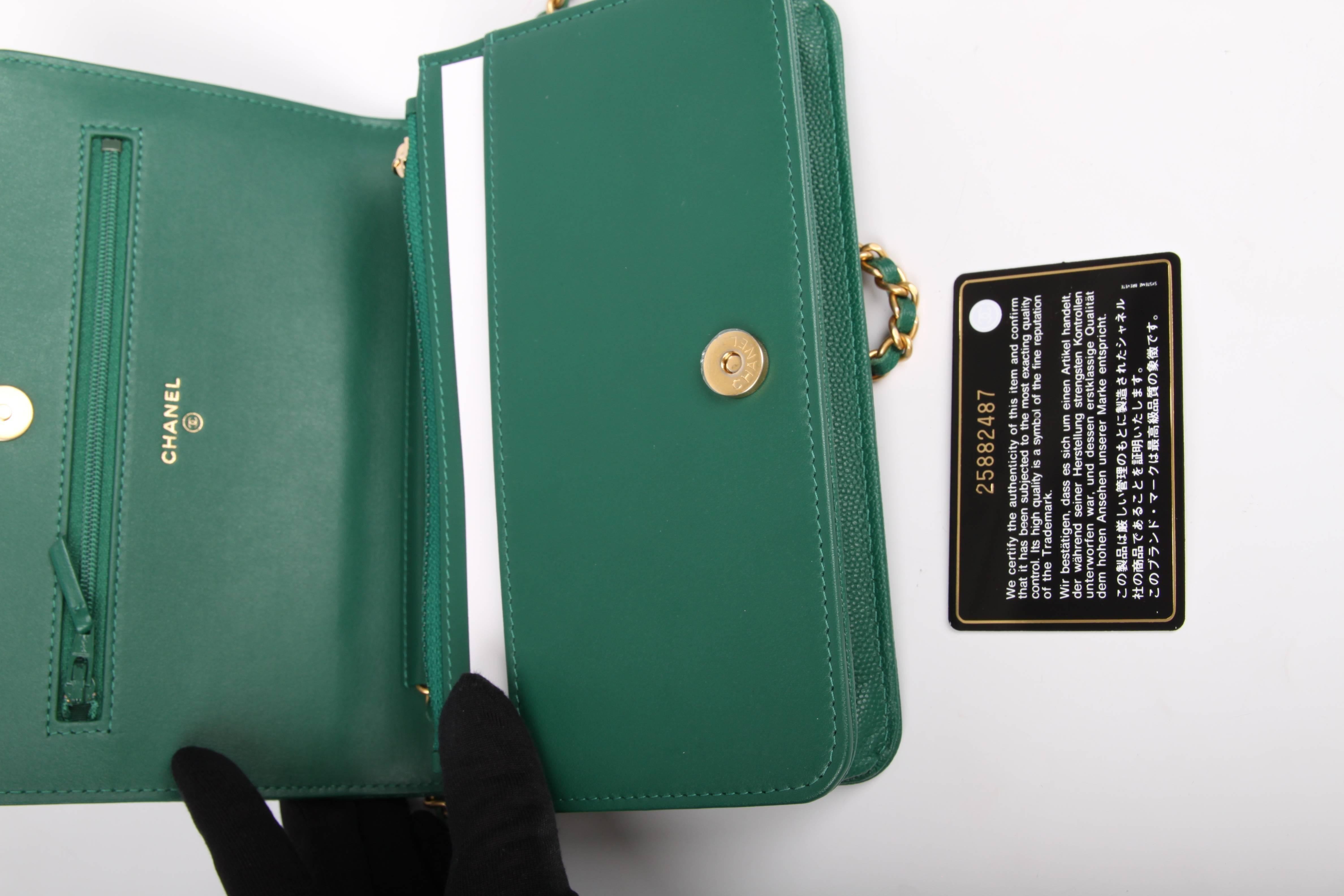 1069295695bba Chanel WOC Wallet on Chain Boy Bag - emerald green at 1stdibs