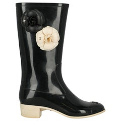 Chanel Woman Ankle boots Black Synthetic Fibers IT 37