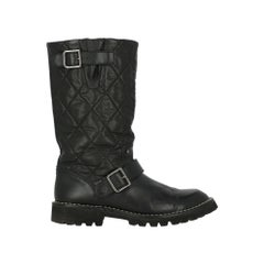 Chanel Woman Boots Black Leather IT 37.5