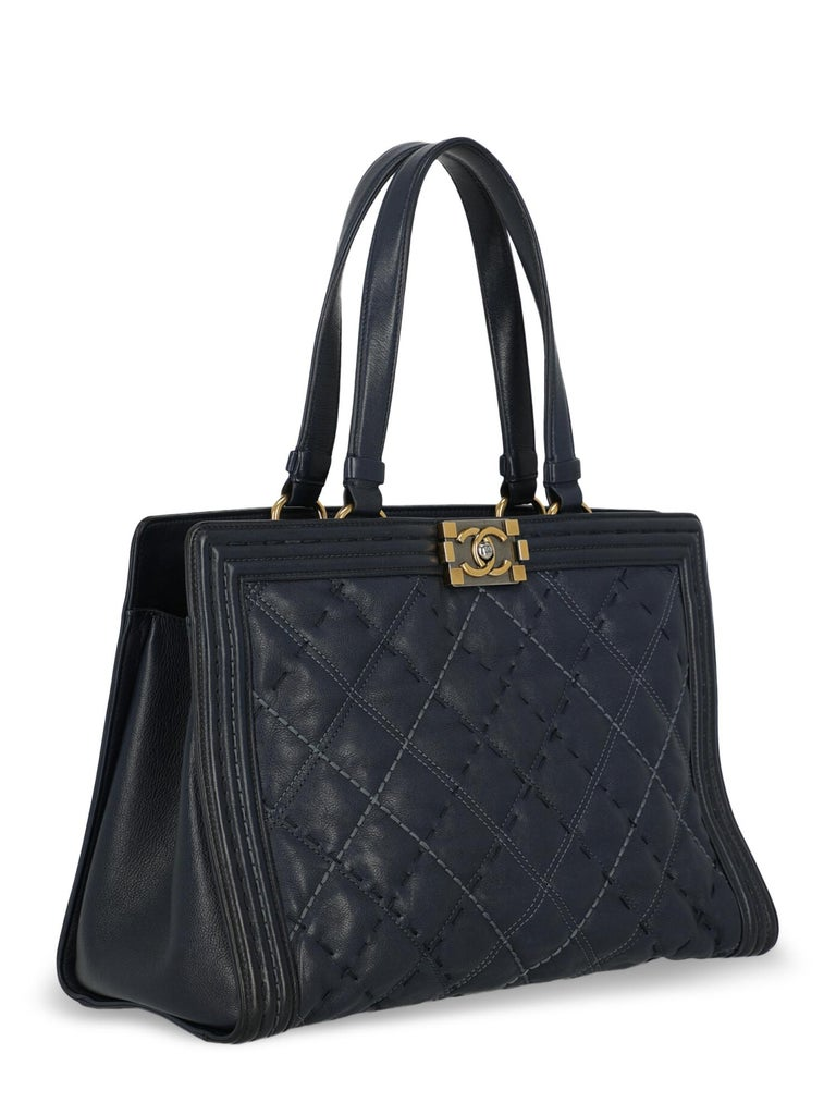 Black Chanel Woman Boy Tote Navy  For Sale