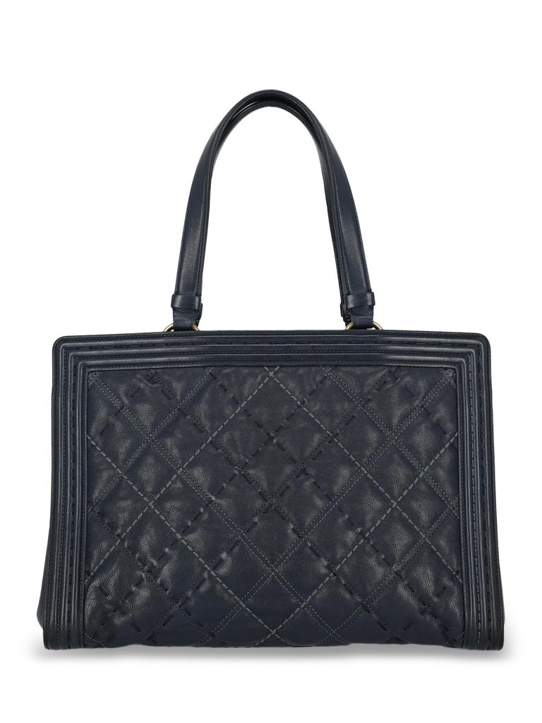 Chanel Woman Boy Tote Navy  In Fair Condition For Sale In Milan, IT