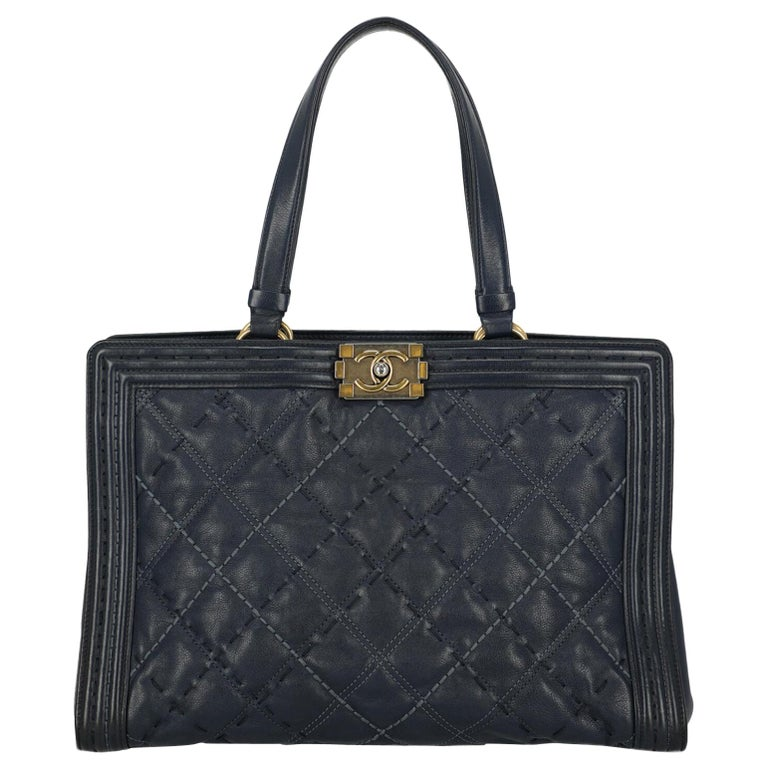 Chanel Woman Boy Tote Navy  For Sale