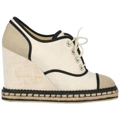 Chanel Woman Lace-up Beige Fabric IT 38.5