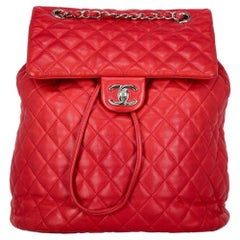 Chanel Women's Backpack Red Leather