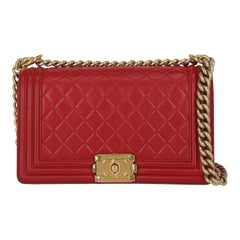 Chanel Women's  Crossbody Bag Chanel Boy Red Leather