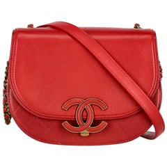 Chanel Women's Crossbody Bag Red Leather