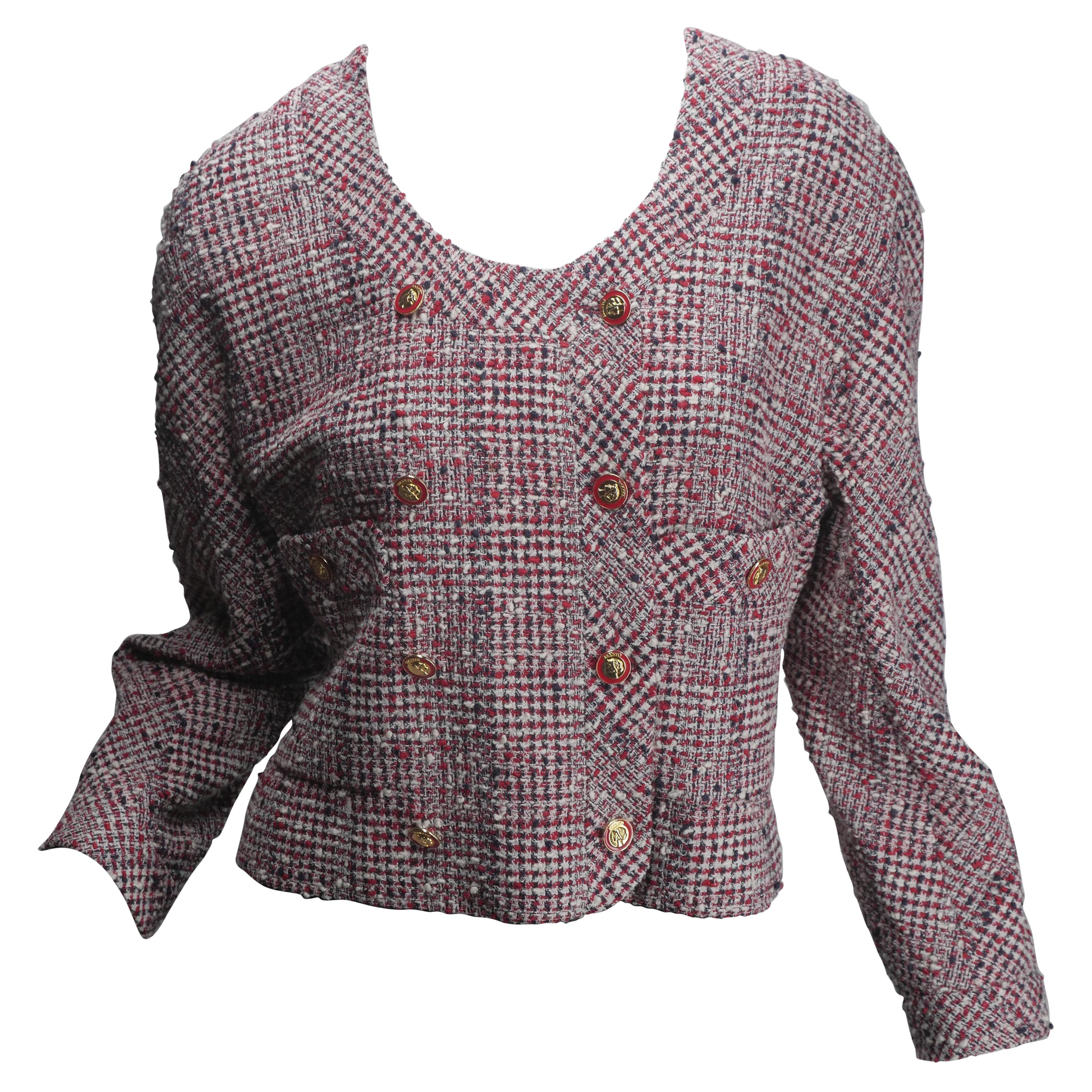 Chanel Women's Double-Breasted Tweed Cropped Jacket