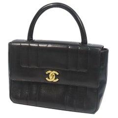 CHANEL Womens handbag black x gold hardware
